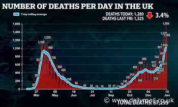 UK daily Covid deaths rise by over 1,000 for a fifth day in a row with 1,295 and 41,346 new cases