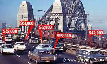 The surprising amounts the cars in this 1969 image of Sydney Harbour Bridge would be worth today