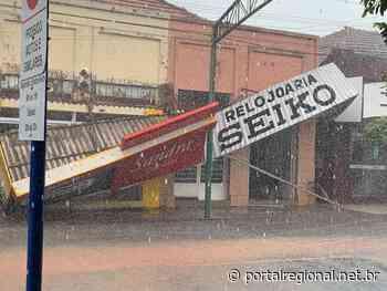 Chuva em Tupi Paulista danifica duas fachadas comerciais na 9 de Julho - Portal Regional Dracena