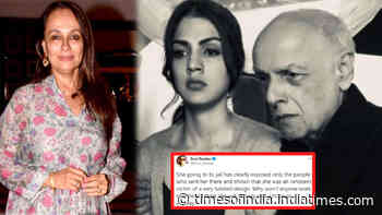 Mahesh Bhatt's wife and actress Soni Razdan tweets in support of Rhea Chakraborty, says 'she was an innocent victim'