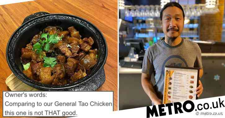 Chinese restaurant owner gives incredibly honest reviews for his own food on the menu