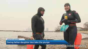 Daring father-daughter duo take the plunge in winter waters