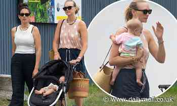 Jessica Gomes and Gemma Ward take baby for a stroll in Byron Bay