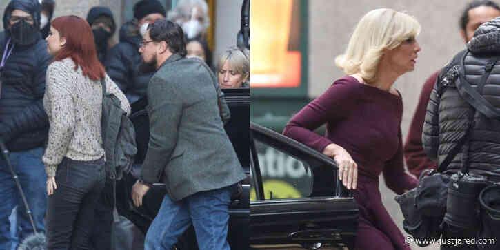Jennifer Lawrence, Leonardo DiCaprio & Cate Blanchett Film 'Don't Look Up' in Boston