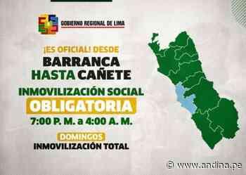Región Lima: en Cañete, Barranca y Huaura el toque de queda empieza hoy a las 19:00 horas - Agencia Andina