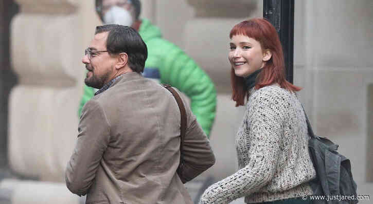 Jennifer Lawrence & Leonardo DiCaprio Share a Laugh on 'Don't Look Up' Set