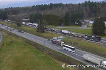 TRAFFIC: Vehicle incident causes backlog of traffic on Highway 1 in Langley