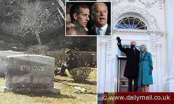 Moment a lone man in a uniform kneels at Beau's grave while Biden gives his inaguration address