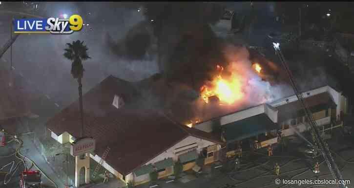 Fire Crews Battle Blaze At Shuttered Sun Valley Restaurant
