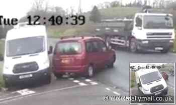 Northern Ireland: Van driver is forced to swerve off the road after car pulls out in front of him