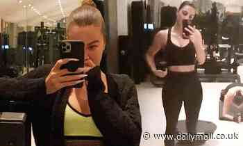 Kim Kardashian and Khloe flaunt toned midriffs in crop tops after running into each other at the gym