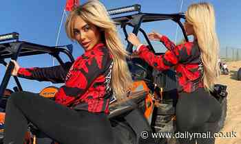 Chloe Ferry shows off her eye-popping curves on a dune buggy ride during her Dubai getaway