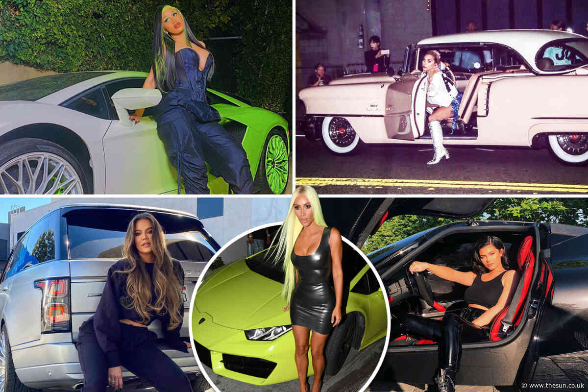 Stars like Kylie Jenner, Khloe Kardashian and Cardi B show off their high-end cars and dangerous curves in sexy pics
