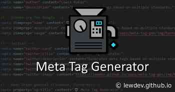 Meta Tag Generator - Generate HTML code optimal for SEO, social media, & mobile