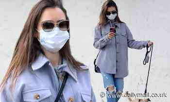 Lily Collins stay warm in a gray-blue shirt jacket as she takes a stroll in LA with her dog Redford