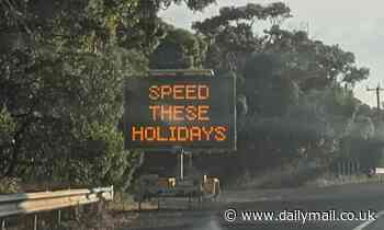 Driver catches sign awkwardly telling drivers 'to speed' over Australia Day weekend