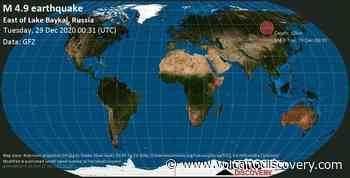 Quake info: Mag. 4.9 earthquake - 46 km southwest of Taksimo, Maysky District, Buryatiya Republic, Russia, on Tuesday, 29 Dec 2020 8:31 am (GMT +8) - VolcanoDiscovery