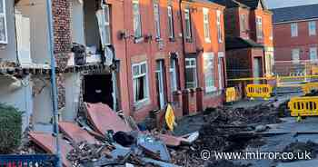 Mum 'loses everything' after fleeing home as two houses collapse into sinkhole