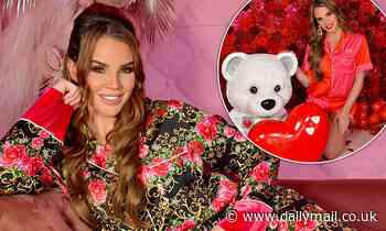 Danielle Lloyd models a collection of silk patterned pyjamas for new photoshoot