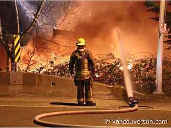 Surrey firefighters battle massive blaze at concrete company