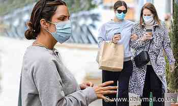 Katharine McPhee shows off her baby bump during lunch date with mom Patricia in Beverly Hills