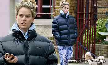 Belgravia star Alice Eve cuts a casual figure in a quilted jacket tie dye joggers