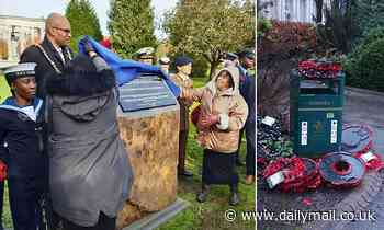 Poppy wreaths honouring black and Asian soldiers are removed from memorial and dumped in the BIN