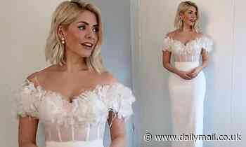 Holly Willoughby dazzles in feathered off-the-shoulder ballgown ahead of Dancing On Ice week two
