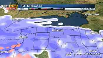 Partly sunny skies Monday; snow returns Tuesday