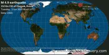 Quake info: Mag. 4.9 earthquake - 244 km northeast of Udachny, Sakha Republic, Russia, on Tuesday, 2 Jun 2020 12:43 am (GMT +0) - VolcanoDiscovery