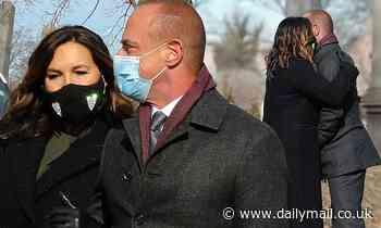 Mariska Hargitay embraces Christopher Meloni on the NYC set of Law & Order: Organized Crime