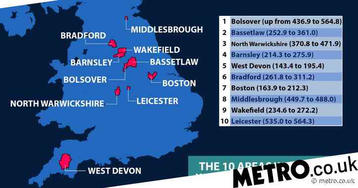 10 Covid hotspots with the biggest rise in cases in England