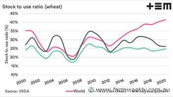 Available wheat globally declines