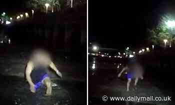 Australia Day reveller trying to flee police gets stuck in the mud