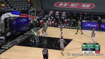 Tristan Thompson with an and one vs the San Antonio Spurs