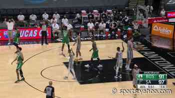 Jayson Tatum with an and one vs the San Antonio Spurs