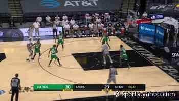 Jakob Poeltl with a dunk vs the Boston Celtics