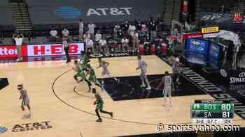 Kemba Walker with a deep 3 vs the San Antonio Spurs