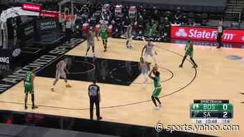 Marcus Smart with a 3-pointer vs the San Antonio Spurs