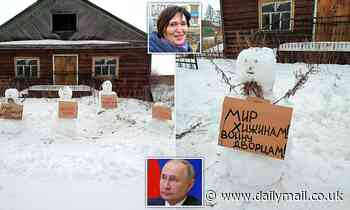 Russian police arrest woman for building anti-Putin SNOWMEN