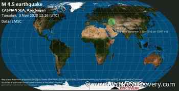 Quake info: Light mag. 4.5 earthquake - 54 km east of Derbent, Respublika Dagestan, Russia, Azerbaijan, on Tuesday, 3 Nov 2020 3:16 pm (GMT +3) - VolcanoDiscovery