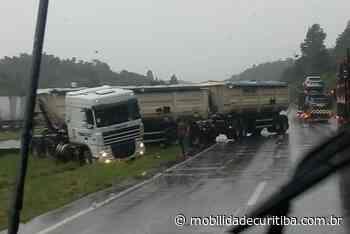 """Carreta em """"L """" interdita parcialmente BR-116 em Campina Grande do Sul - Mobilidade Curitiba"""