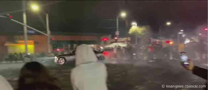 Dangerous Street Takeover In Inglewood Draws Large Crowd