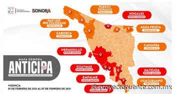 Hermosillo, Navojoa, Cajeme, Empalme, Guaymas, Nogales riesgo máximo en el Mapa Sonora Anticipa - Proyecto Puente