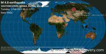Quake info: Moderate mag. 4.8 earthquake - 22 km west of Barnaul, Altay Kray, Russia, on Tuesday, 2 Feb 2021 1:11 pm (GMT +7) - 1 user experience report - VolcanoDiscovery