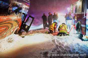 One person injured as bus goes off road in Conception Bay South during storm - The Telegram