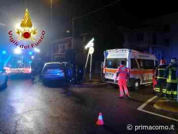 Violento scontro a Luisago, l'auto con tre giovani a bordo si ribalta - Prima Como