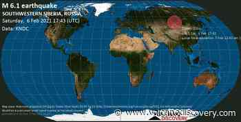 Quake info: Very strong mag. 6.1 earthquake - 67 km southwest of Kyzyl, Republic of Tyva, Russia, on Sunday, 7 Feb 2021 12:43 am (GMT +7) - VolcanoDiscovery