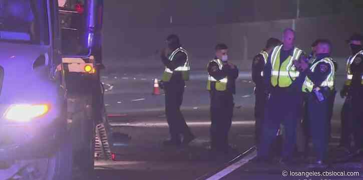 Driver Killed In Fiery Box Truck Crash On 101 Freeway In Sherman Oaks