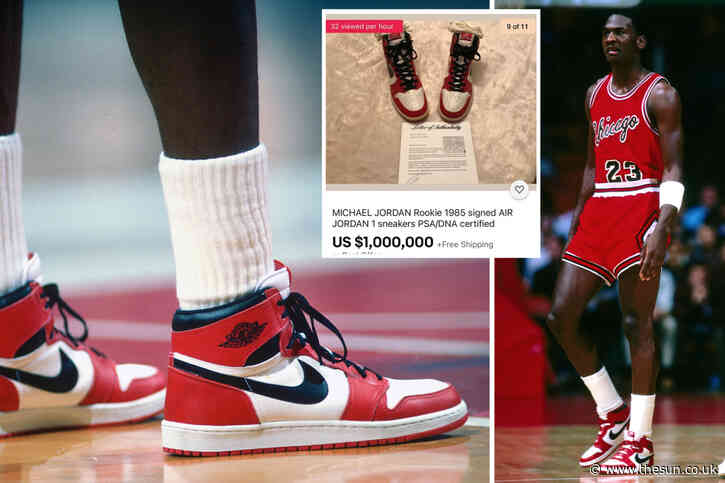Rare pair of Air Jordan 1s signed by NBA legend Michael Jordan and never worn up for sale on eBay for $1million